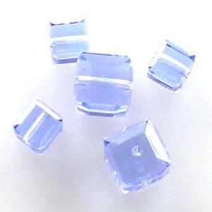 4mm Swarovski Crystal Cube, Sapphire light