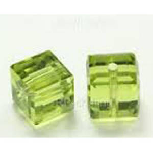 4mm Swarovski Crystal Cube, Olivine light