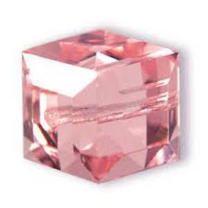 6mm Swarovski Crystal Cube, Rose, light