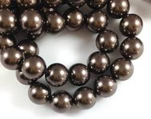 12mm Round Swarovski Pearl, Brown