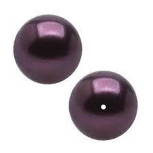 12mm Round Swarovski Pearl, Burgandy