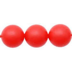 10mm Round Swarovski Pearl, Neon Red