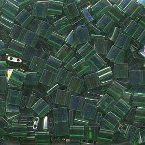 Tila Bead, 5mm, Green Transparent Luster