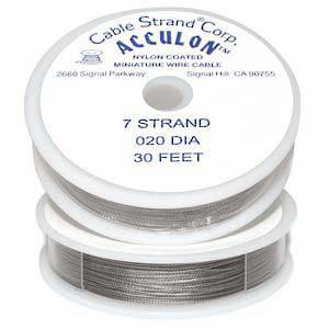 NEW! Acculon Medium Beading Wire: 9m roll - Clear (silver grey) .020 diameter