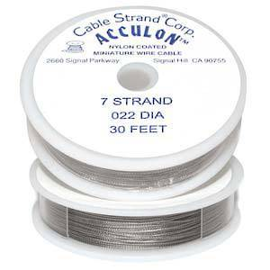 Acculon Thicker Beading Wire: 9m roll - Clear (silver grey) .022 diameter