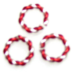 Twisted Jumpring, silver/red