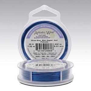 Artistic Wire:  28 gauge, Silver Blue