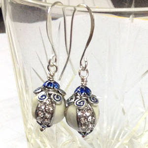 White and Blue Enamelled Earring, one pair