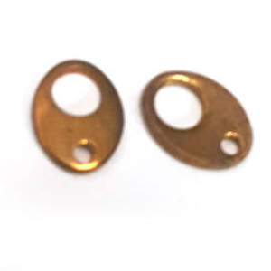 Tab Clasp End: Antiqued Gold, oval shape.
