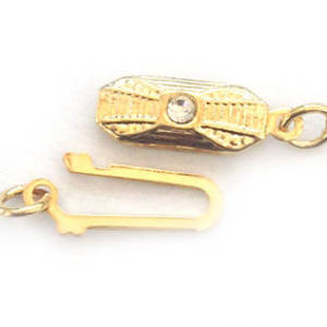 Fish Clasp: Rectangular deco style with diamante - Gold
