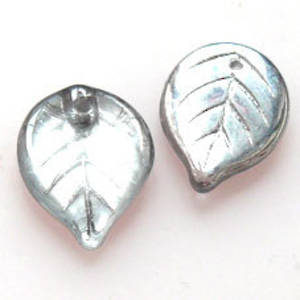 Flat Leaf, 13mm x 18mm - Crystal/Silver