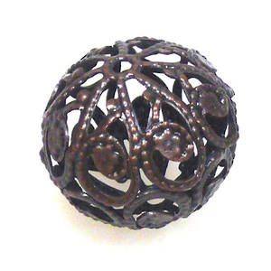 Metal Bead, large open copper filigree ball