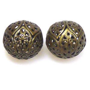 Metal Bead, large open brass ball