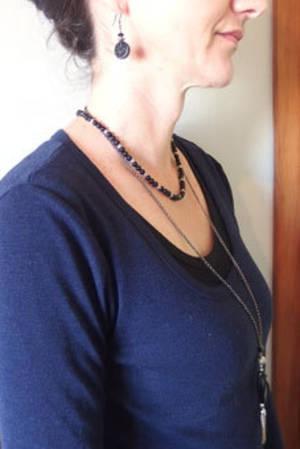 KITSET: Simple Semi Precious Necklace - Black Jade (dyed)