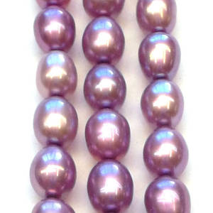 40cm Freshwater Pearl Strand: Purple oval, 4x5mm