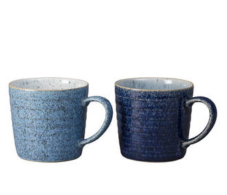 Denby Studio Blue Ridged Mugs - Pair