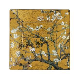 Van Gogh Almond Tree Gold Square Plate 16cm