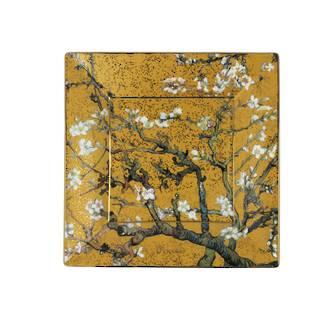 Van Gogh Almond Tree Gold Square Plate 12cm