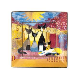 Cats Celebrate Square Plate 12cm