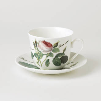 Redoute Rose Breakfast Cup & Saucer