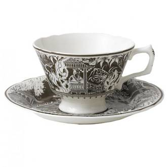 Royal Crown Derby Taupe Mikado Teacup & Saucer