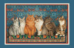 Ivory Cats Tea Towels Pair