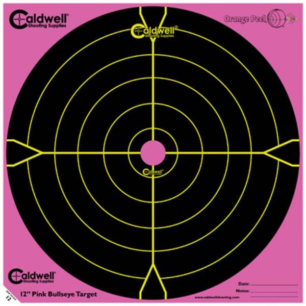 """Caldwell Orange Peel Pink 12"""" Bullseye Targets 5 Pack"""