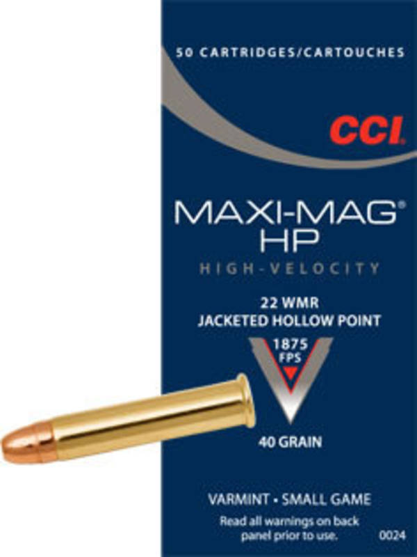 CCI Maxi Mag 22WMR Hollow Point 40gr 50 Rounds
