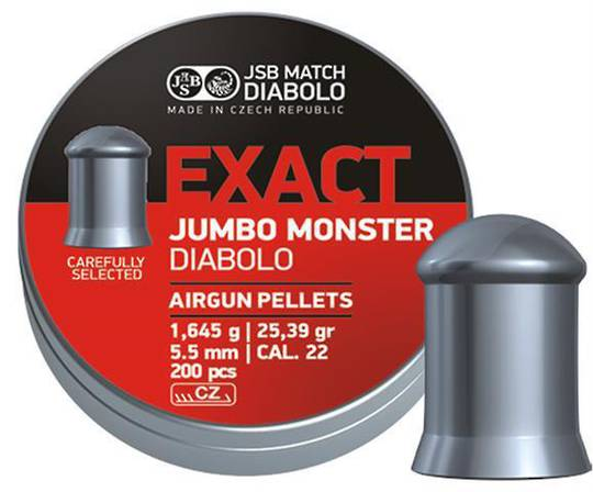 JSB Exact Jumbo Monster Diabolo .22 Cal - 5.52mm x200pcs 25.39gr