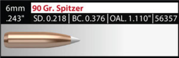 Nosler Accubond 6mm 90gr 56357 Box of 50