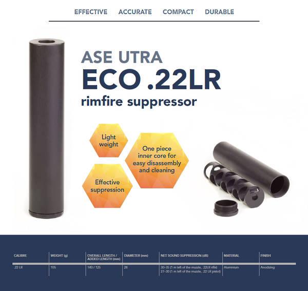 ASE ECO Rimfire Suppressor .22cal 1/2x20 Thread