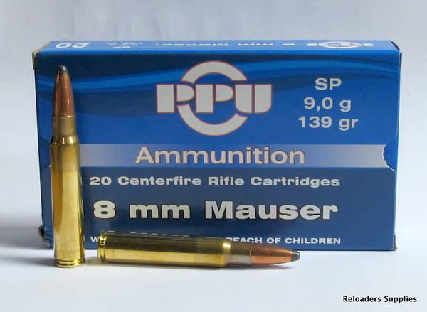PPU Ammunition 8x57 Mauser 139gr PSP