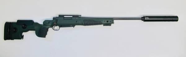 REMINGTON 700 7/08 IN GRS BIFROST STOCK, PIC RAIL & THREADED WITH SONIC 45 SILENCER