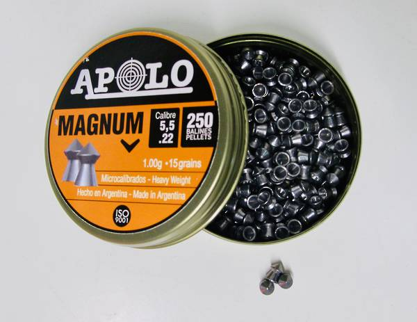 Apolo Magnum .22 cal 5.5mm Pointed Airgun Pellets Tin 250