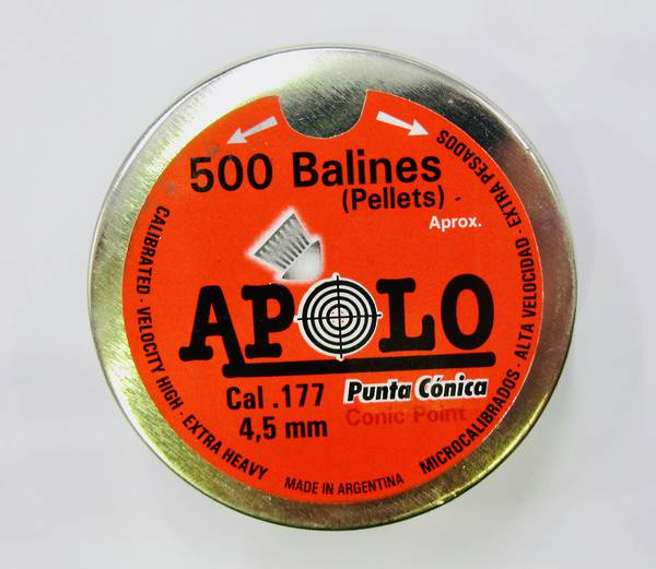 Apolo Conic Point .177 4.5mm Tin x500 pellets (factory Seconds)