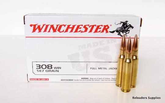 Winchester 308 Win 147 grain FMJ Target #USA3081
