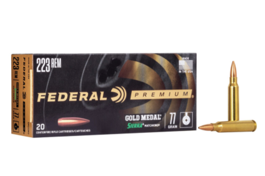 Federal Gold Medal Match Ammo 223Rem 77gr x20