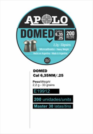 Apolo Air Boss Domed  .25 cal / 6.35mm Tin 200