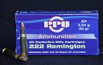 PPU 222 Remington Ammo 50gr SP 20 Rounds