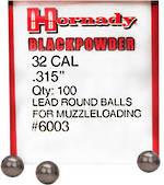 Hornady 32 cal .315 Round Balls 100's #6003