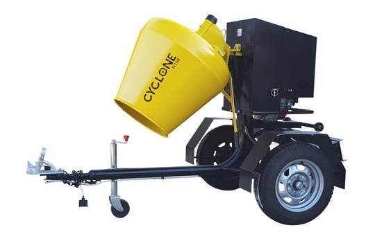CYCLONE R190 Concrete Mixer Road Towable - Yanmar Diesel Engine