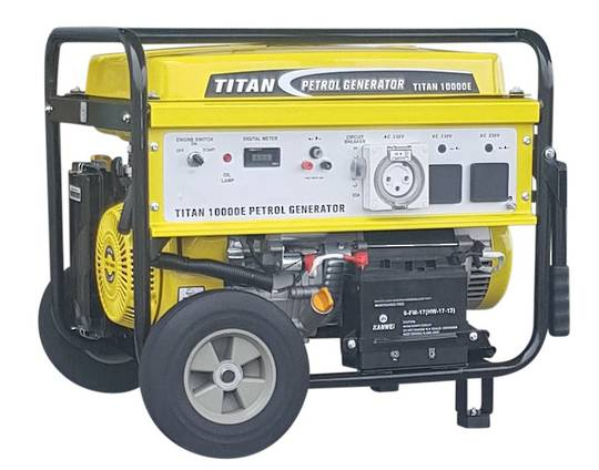 Titan 10000E Petrol Generator 32amp Single Socket