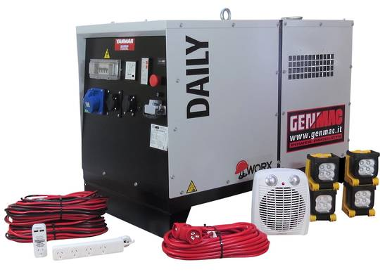 Genmac Yanmar Powered Daily RG5000YS Generator 6.1kVA Silenced 230v + Emergency Backup Kit