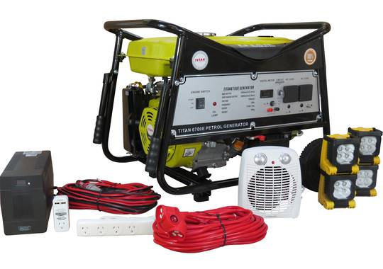 Titan 6700E 5.5kW Petrol Generator + Emergency Backup Kit