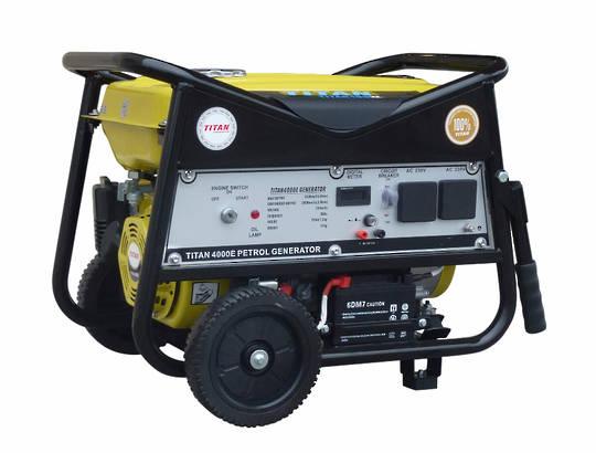 Titan 4000E 3.3kW Petrol Generator - Wheel Kit & El. St