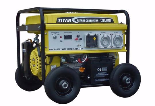 Titan 10000E 8.4kW Petrol Generator WORKSITE RCD