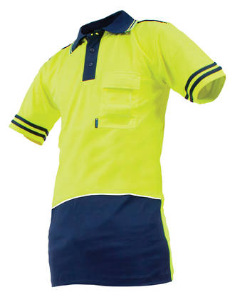 V50 Polo Safety Shirt Day Only Yellow/Navy S-8XL
