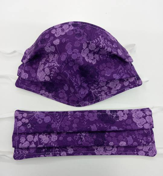 Purple Flowers Fabric Facemask