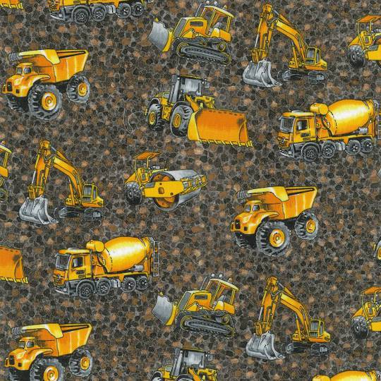 Trucks and Diggers Grey Colour 102 Fat Quarter