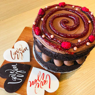 "Chocolate Raspberry ""Love You"" Cake"